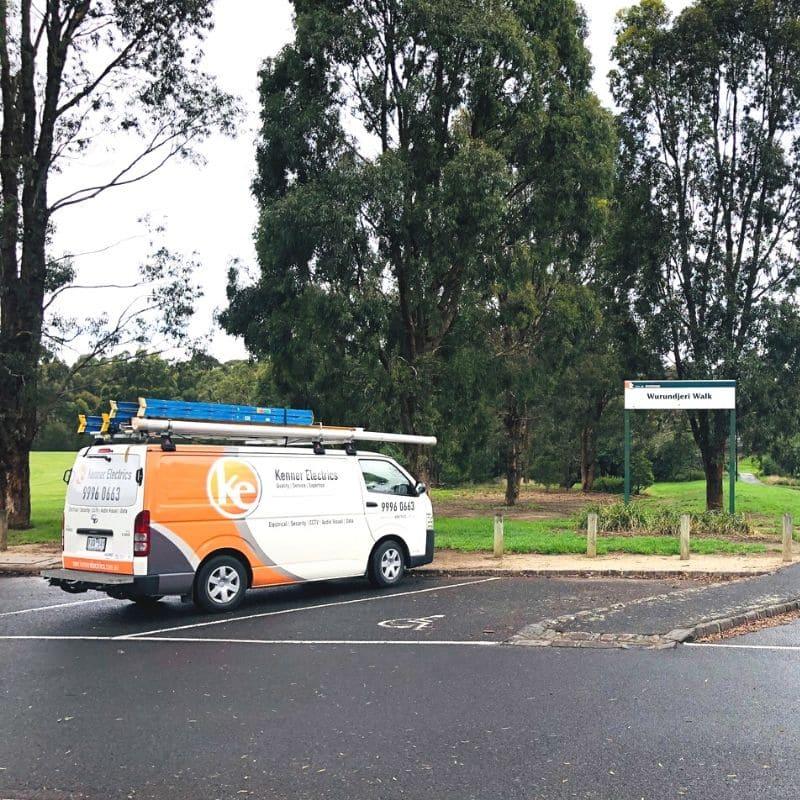 Kenner Electrics van in Wurundjeri Walk car park in Blackburn South