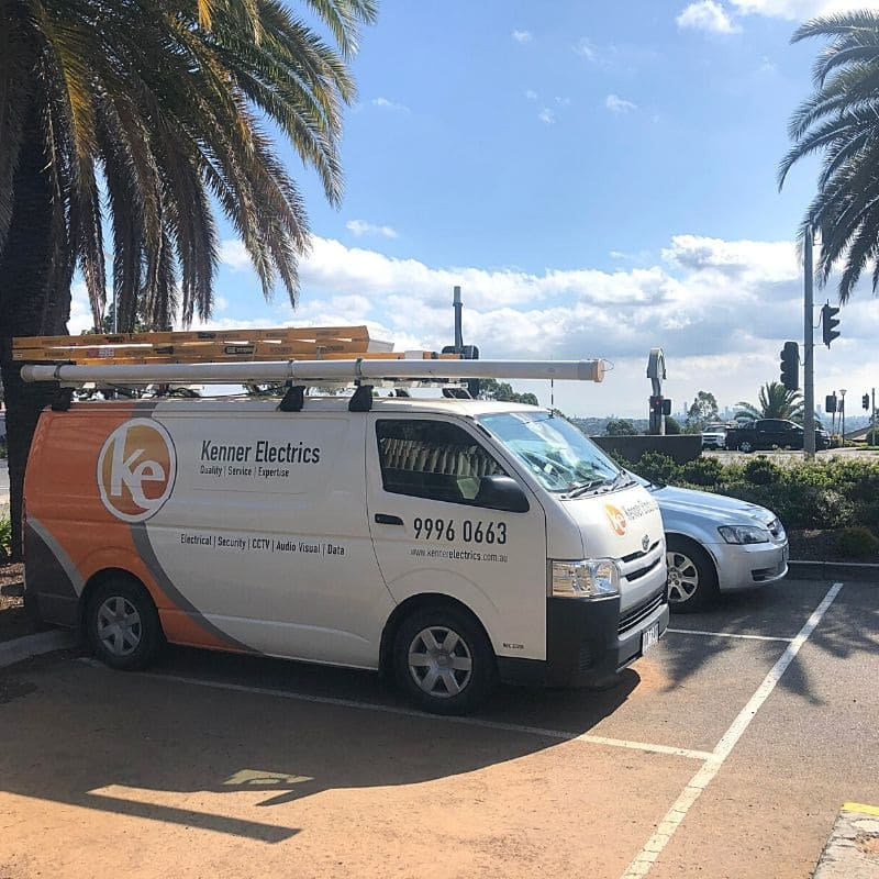 Kenner Electrics van parked beside palm tree at Westfield Doncaster Shopping Centre