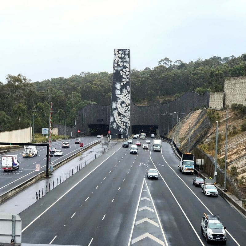 Eastern Freeway entrance sculpture in Donvale