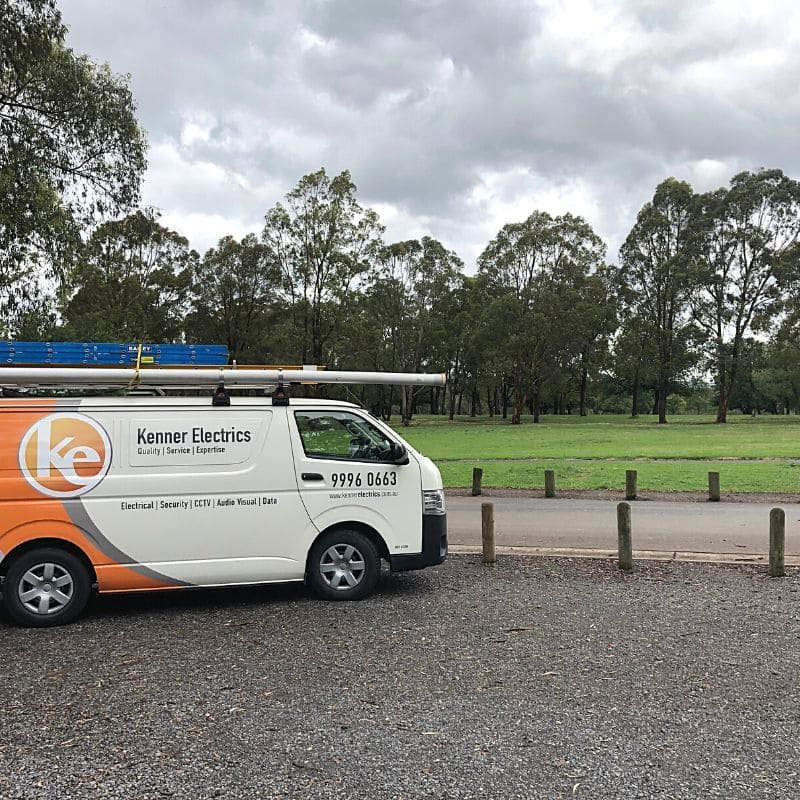 Kenner Electrics van in front of a park in Glen Waverley