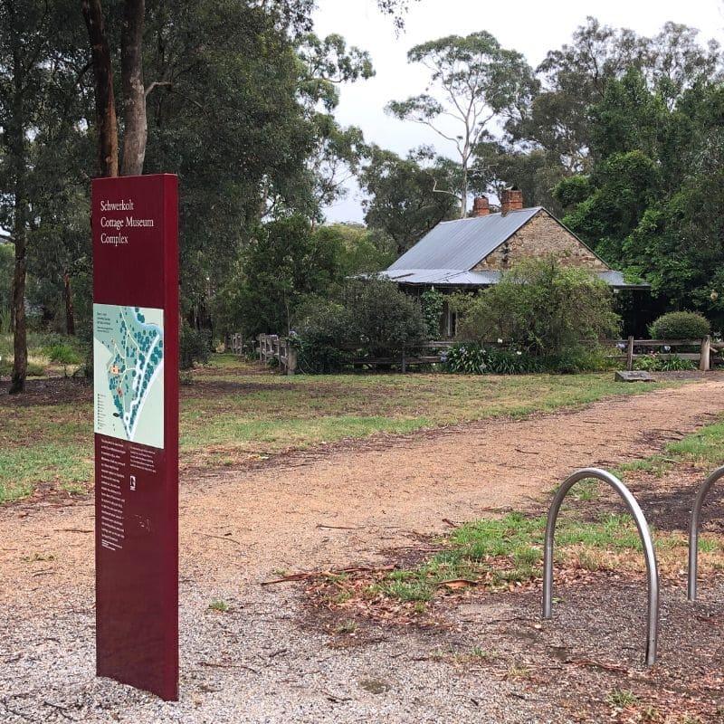 Information sign at Schwerkolt's Cottage Mitcham