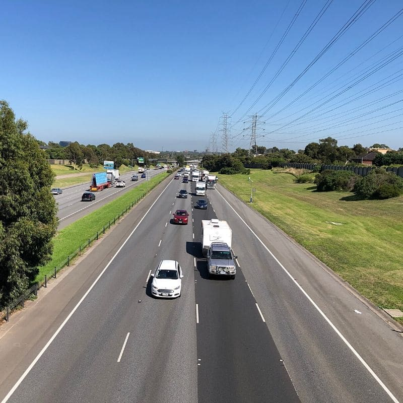 View from the bridge over the Monash Freeway in Mount Waverley