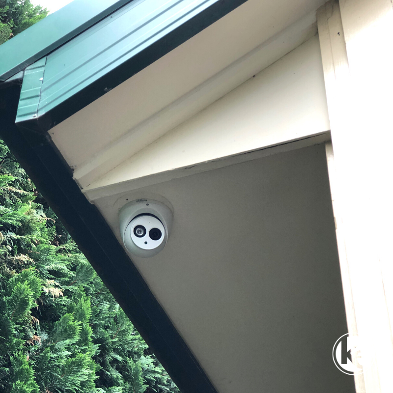 Dahua CCTV home security camera installed on eaves