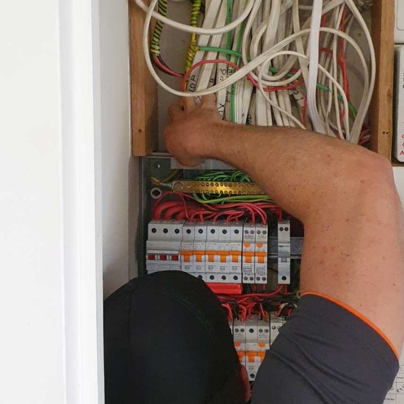Electrican working on a switchboard