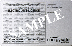 Sample electrician's licence from Victoria, Australia