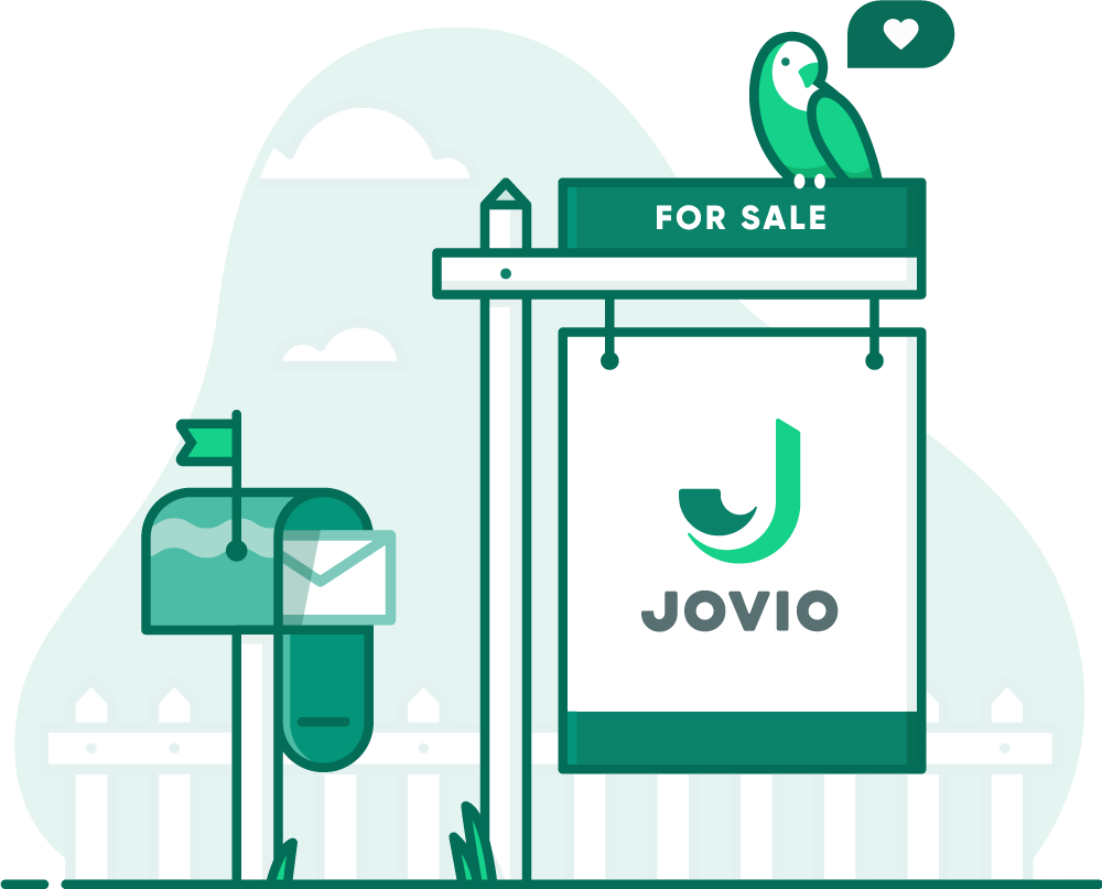 illustration of a Jovio for sale sign with a chirping bird on it next to a mailbox