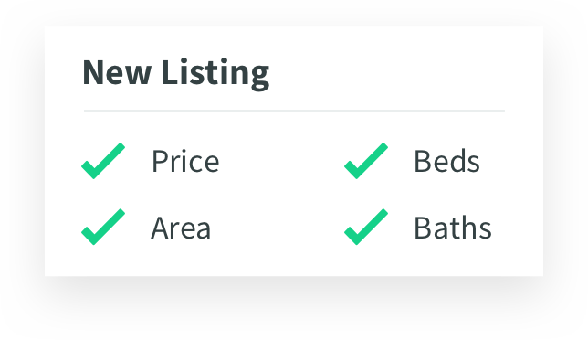 green check marks next to the words price, area, beds, and baths