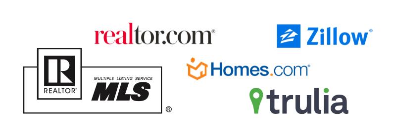 Logos for Realtor.com, Zillow, the MLS, Homes.com, and Trulia