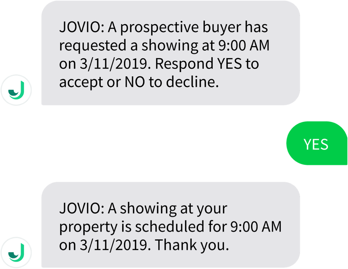 text message conversation from Jovio with notification of a property showing