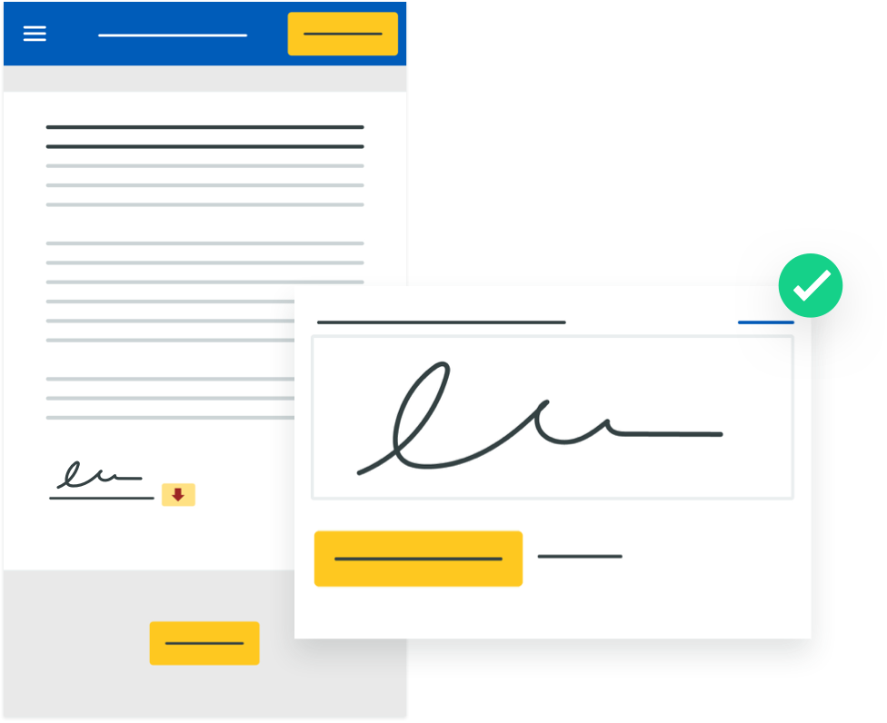 digital signature on a form with check mark in a green circle
