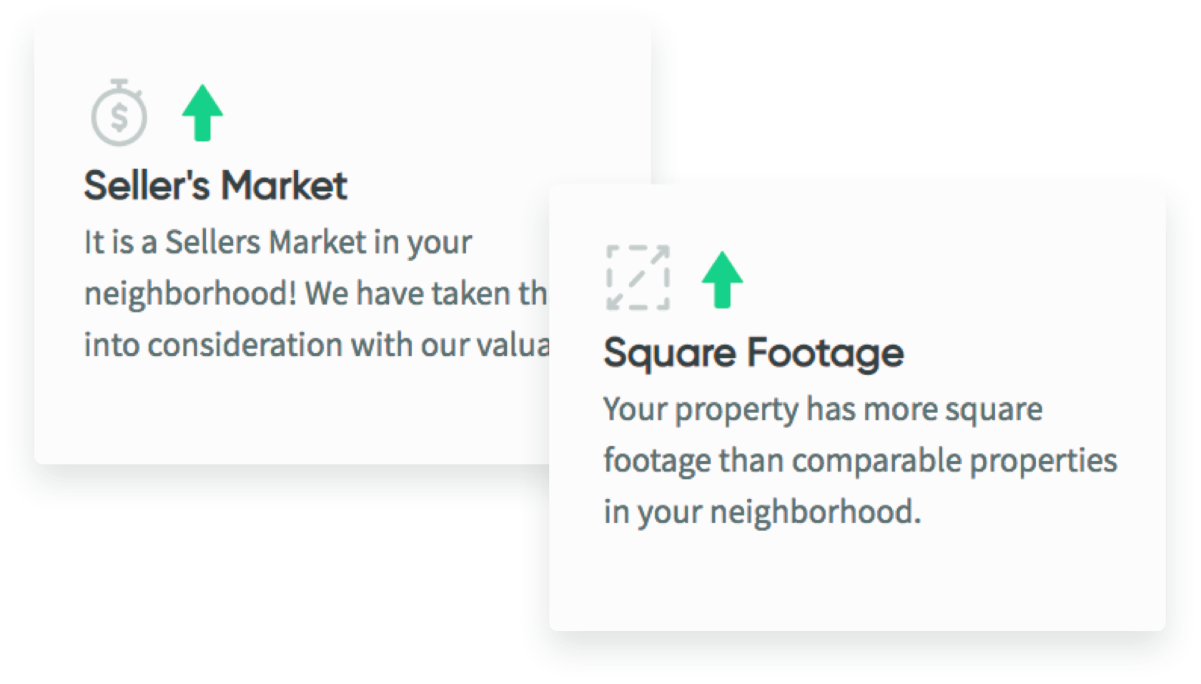 text boxes showing seller's market and square footage on it with green arrows pointing up