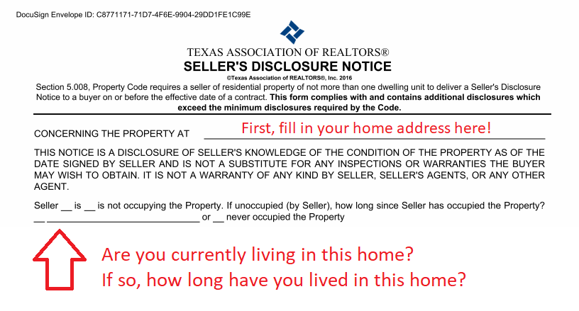 Texas Association of Realtors Seller's Disclosure Notice introduction guide to filling out seller's disclosure notice
