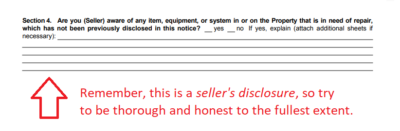 seller's disclosure notice steps