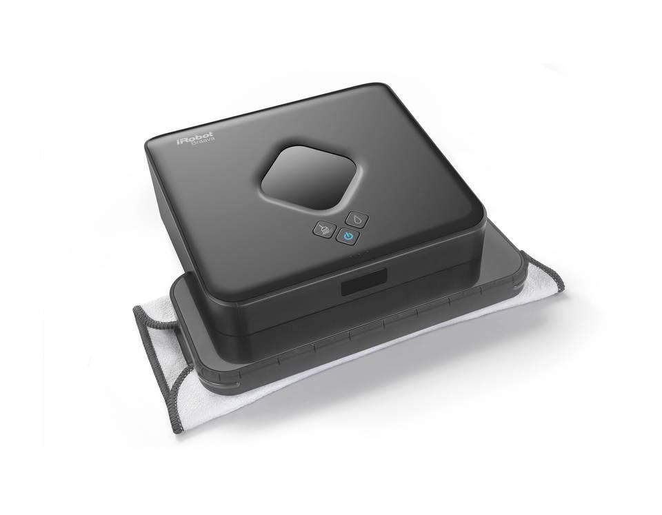 iRobot Braava 380T Wet/Dry Robotic Floor Cleaner mop on white background