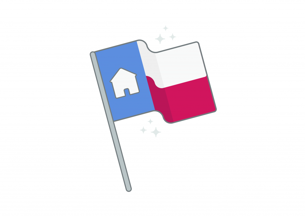 Sparkling Texas state flag with house