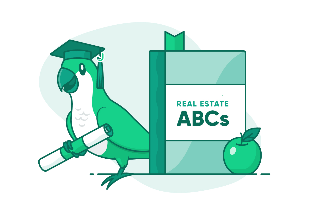 Mojo green parakeet with graduation cap and diploma next to Real Estate ABCs book and green apple