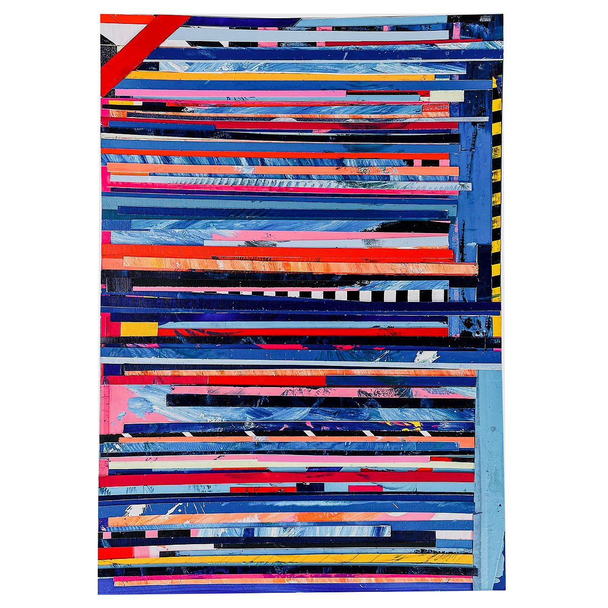 """This is a one-of-a-kind artwork by Robb Lejuwaan titled """"#71"""" It made up of acrylic paint, spray paint, tape, paper, and graphite on heavy-duty paper. This work was completed in 2021 and is available for sale on this page."""
