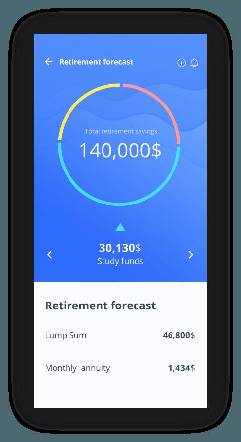 מסך תחזית פרישה באפליקציית רובין
