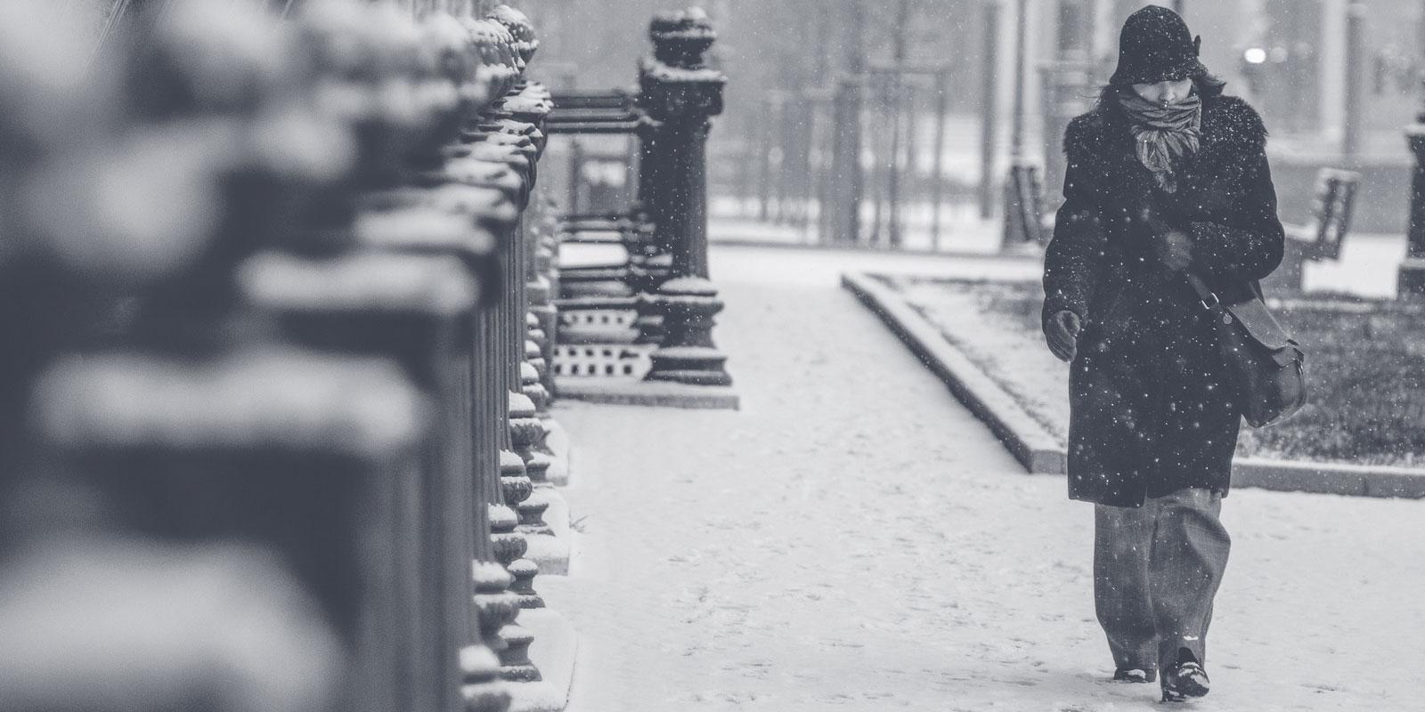 Walking in a snow blizzard