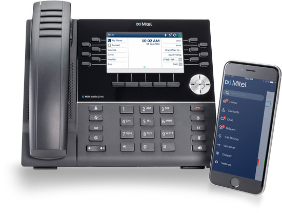 Mitel telephone system with iPhone