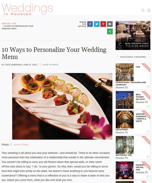 10 Ways To Personalize Your Wedding Menu