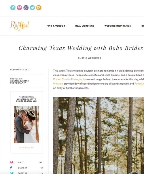 Charming Texas Wedding with Boho Bridesmaids