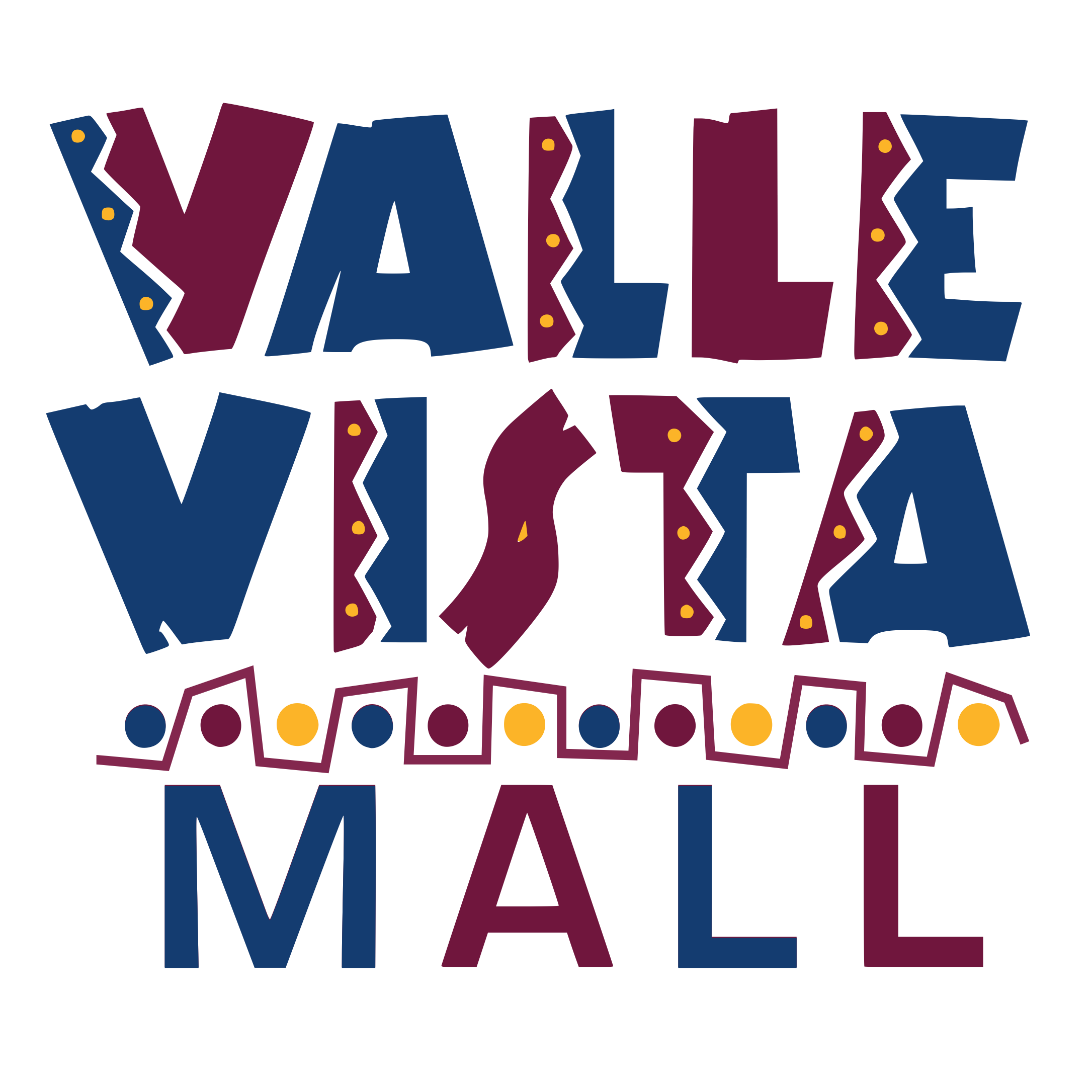 Blue and maroonValle Vista Mall logo