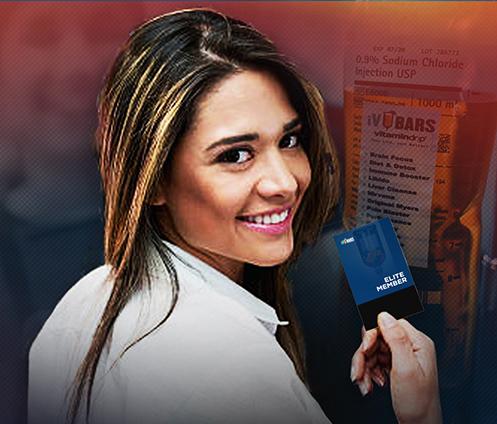 photo of girl smiling and holding her iv bars elite member card
