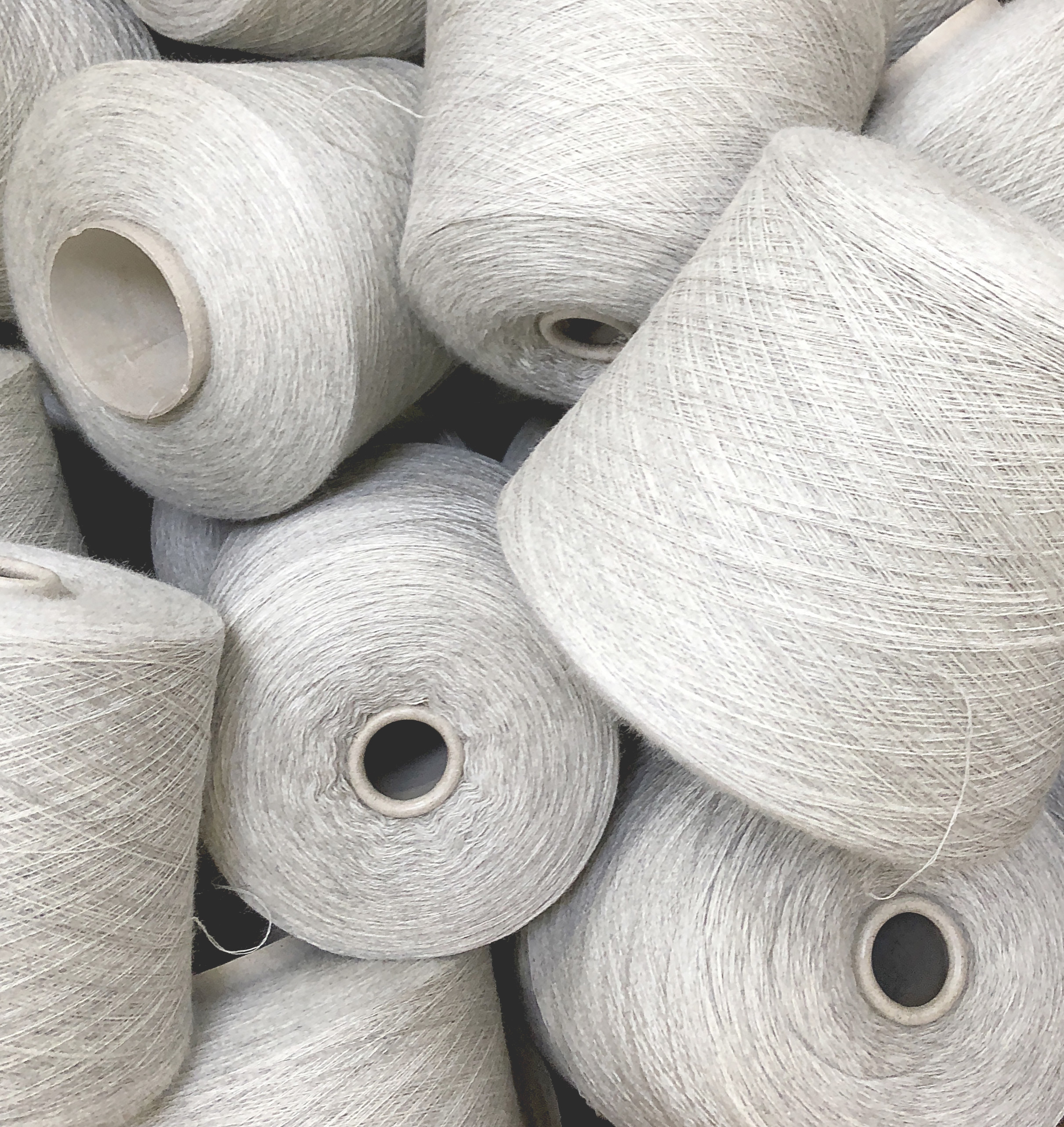 Spools of yarn made from wool from sheep raised sustainably