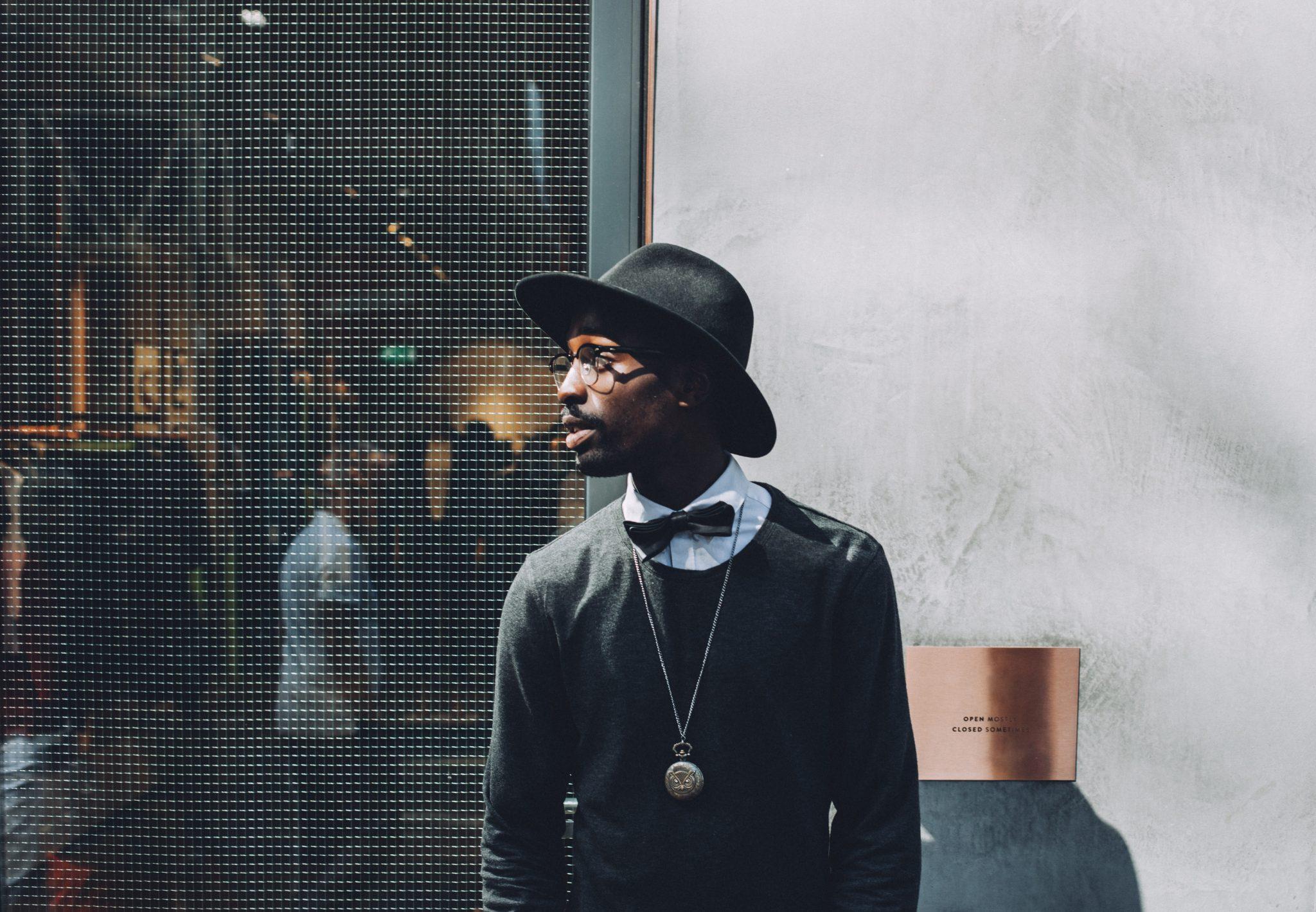 stylish accessories, black hat, mens fashion, photoshoot extras