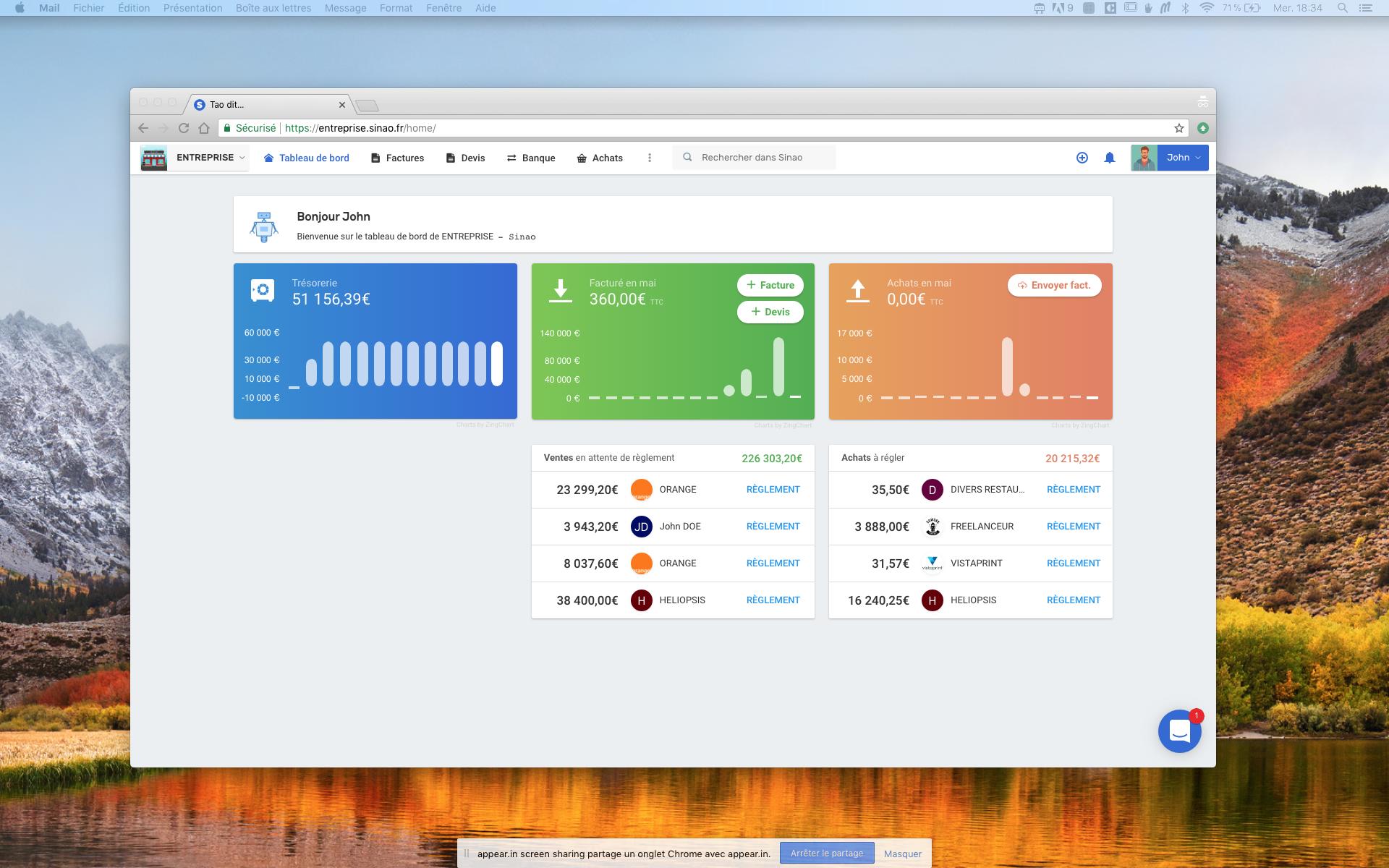 Capture d'écran du logiciel comptable Sinao