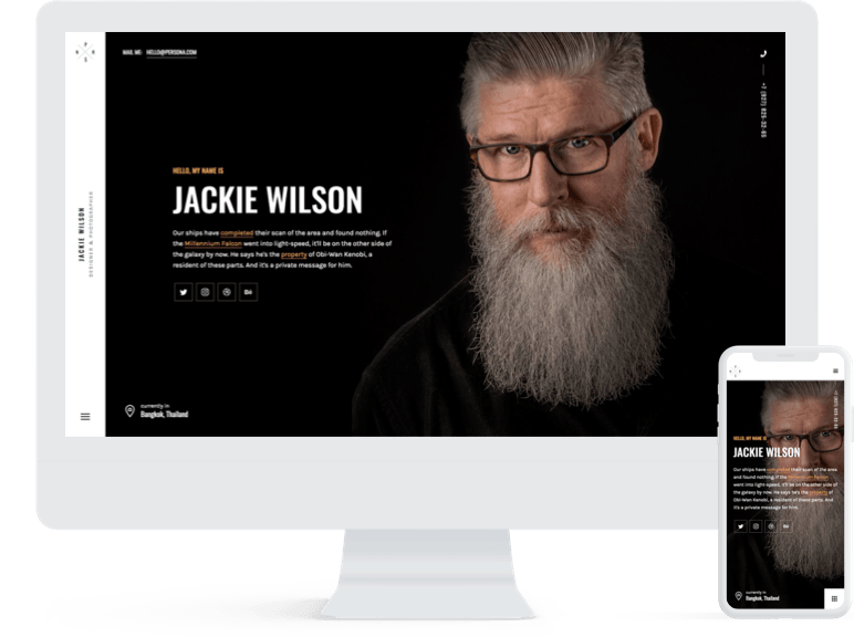 imac mockup of a bearded man with a phone beside it