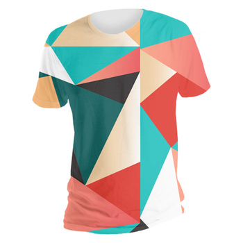 all over print t-shirt with colorful geometric pattern