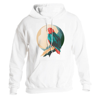 white sweatshirt with a colorful bird image