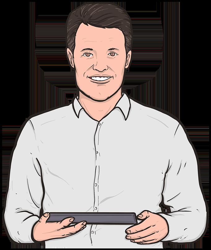 Illustrated presenter holding iPad