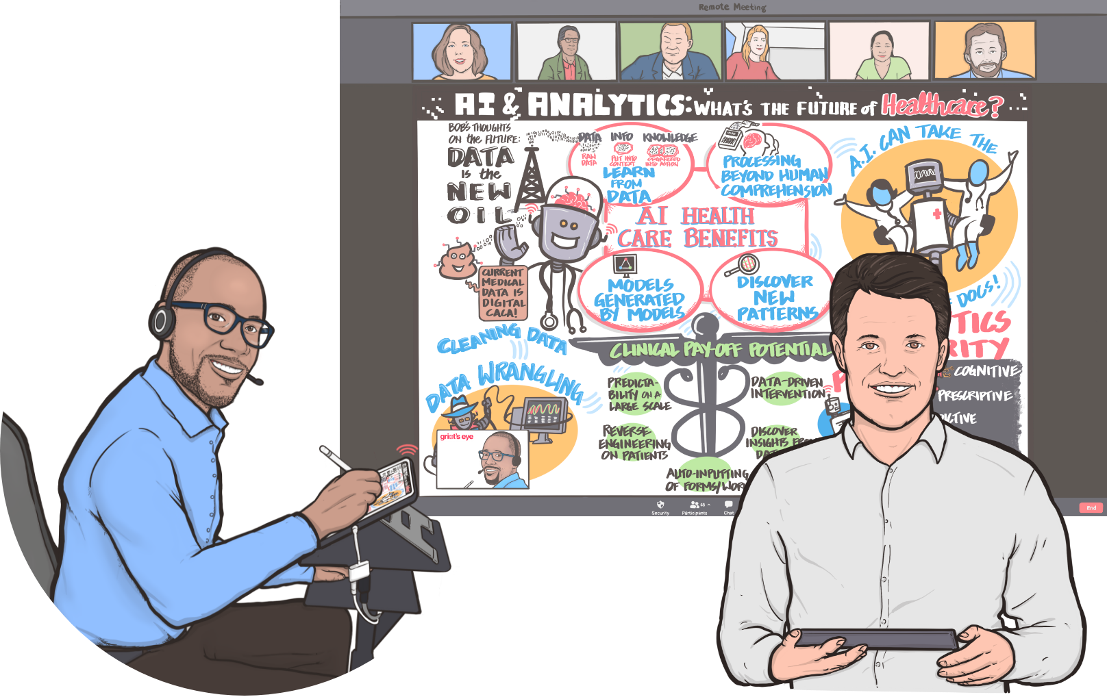 Illustrated Christopher Fuller, CEO and Chief Scribe of Griot's Eye providing graphic recording services