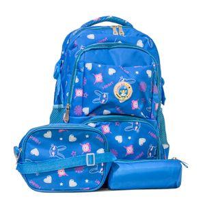 mochila infantil azul coelhos