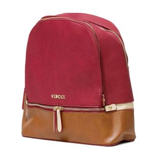 mochila couro sintetico vermelha