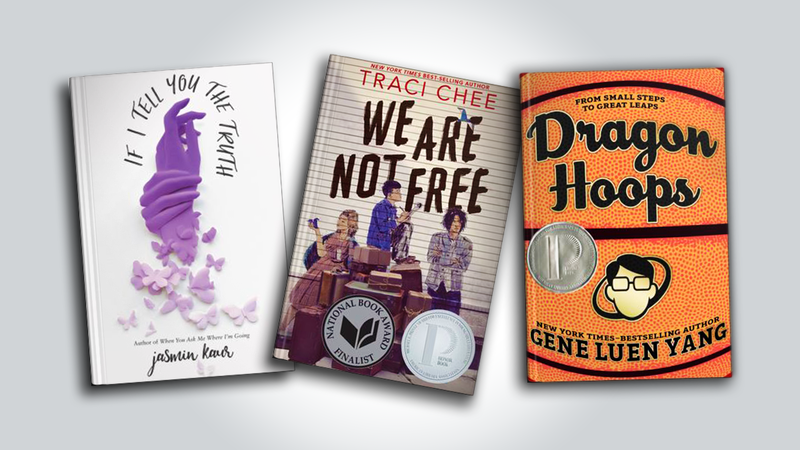 three book covers are arranged next to each other: If I Tell You The Truth by Jasmin Kaur, We Are Not Free by traci Chee and Dragon Hoops by Gene Luen Yang
