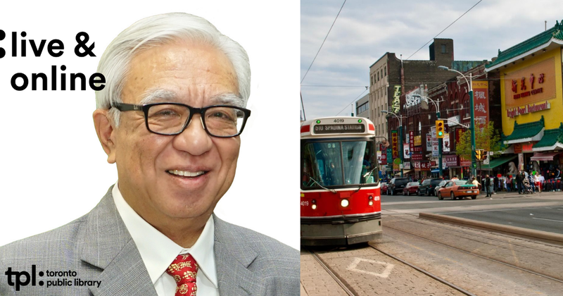Author Leo Chan smiling, wearing a suit and glasses, next to a photo of a streetcar in Toronto's Chinatown