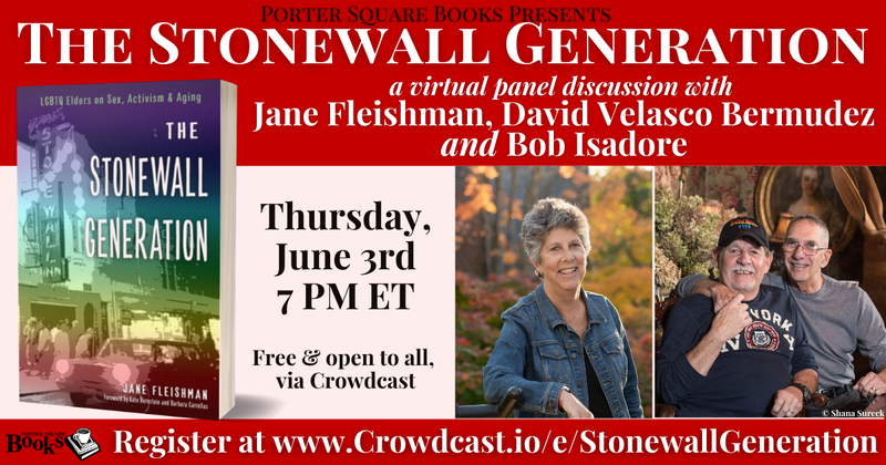The Stonewall Generation book cover displayed with the author, Jane Fleishman, a smiling older white woman, and husbands David Velasco Bermudez and Bob Isadore, two older white men smiling and holding hands.