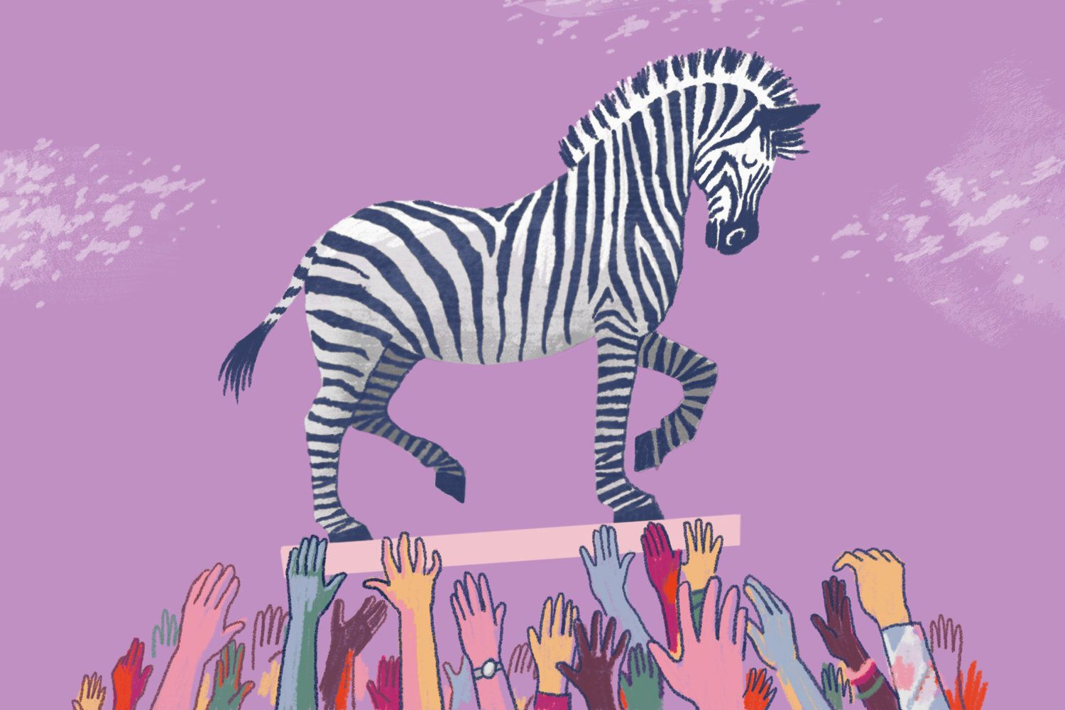 an illustration of a zebra standing on a platform which is supported by a crowd of multicolored arms reaching upwards