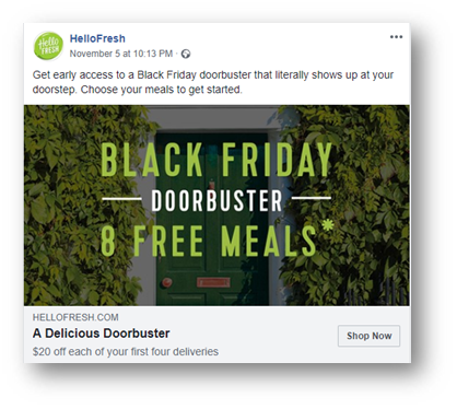 HelloFresh's top ad for Black Friday 2018