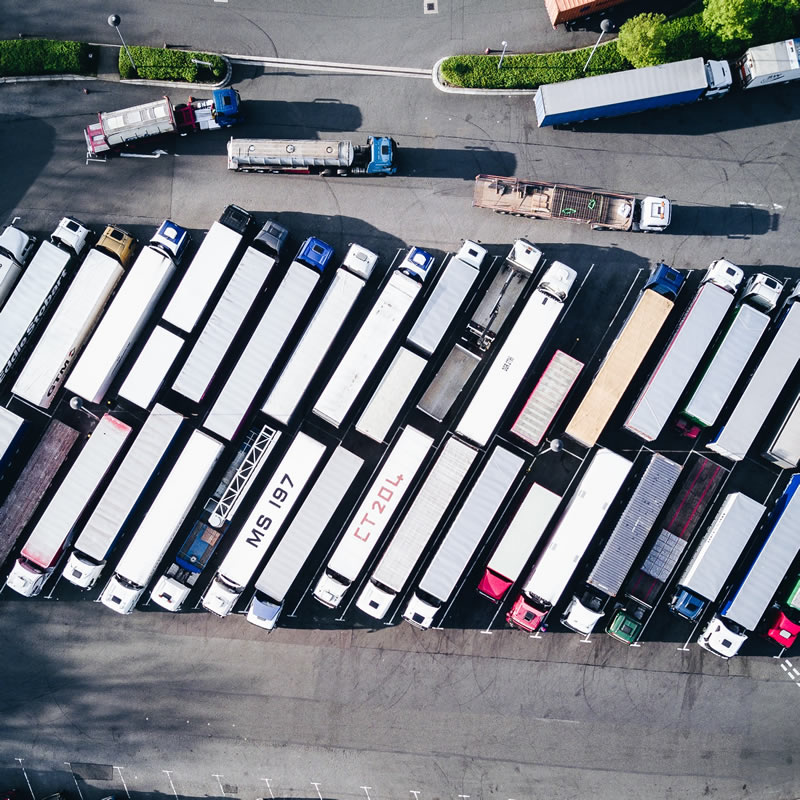 Aerial view of parked delivery trucks