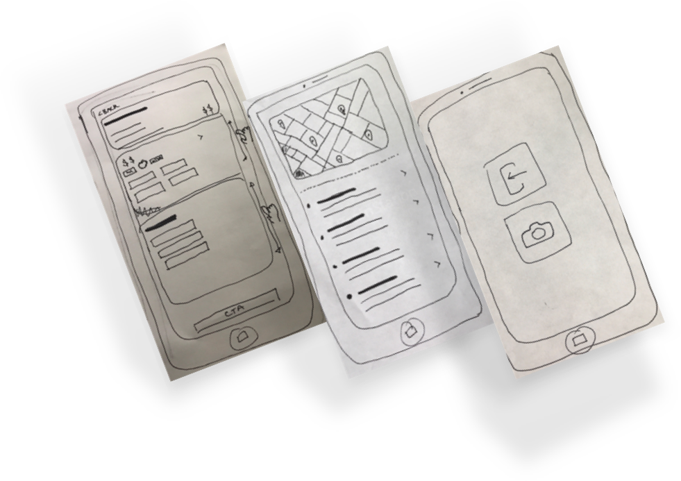 hand drawn sketches of nimble screens