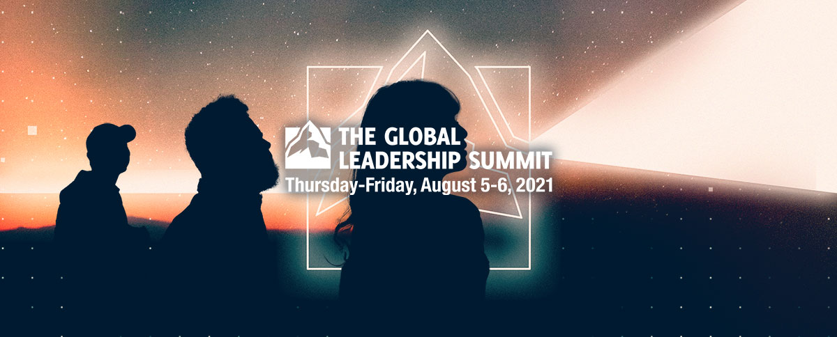 """A silhouetted image of people's profile with the words """"The Global Leadership Summit. Thursday-Friday, August 5-6, 2021."""""""