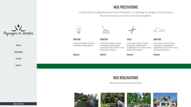 Page présentation des prestation paysagiste