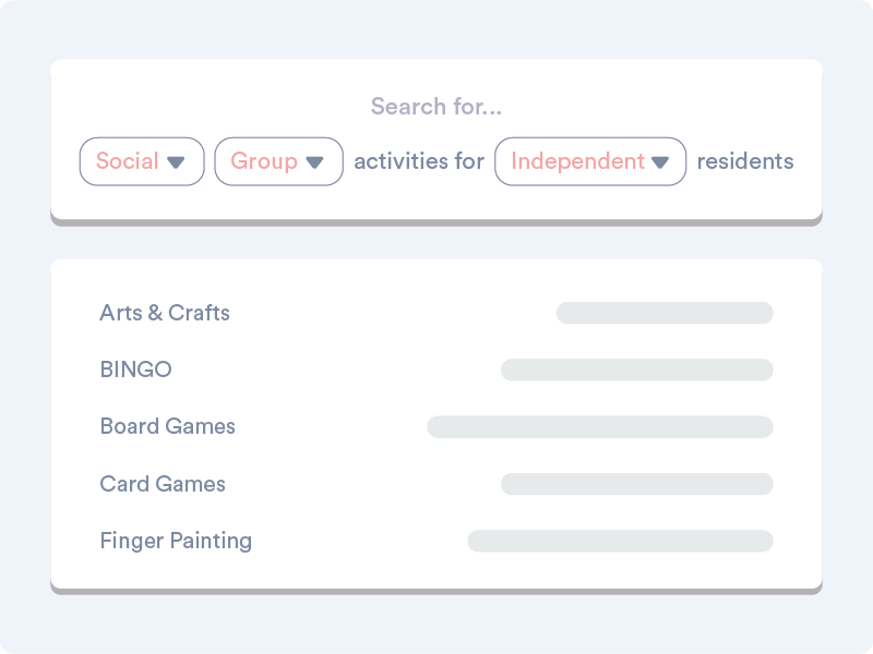 An mockup of Welbi's Activity List feature
