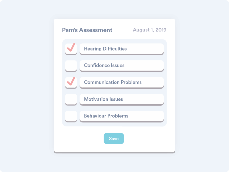 An mockup of Welbi's Resident Assessment feature