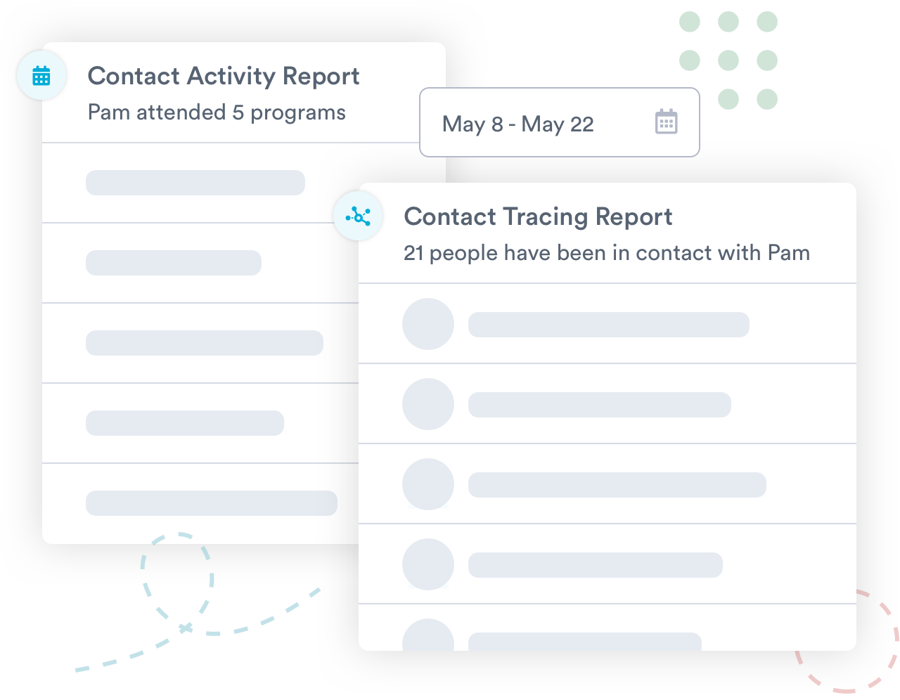 Mockup of contact tracing features